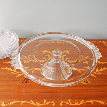 Vintage Cake Set, Cake Stand and Plates, Dessert Serving Set, Mikasa Glass Cake Platter Set, Wedding Serving, Gift for her, Christmas Gift