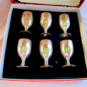 LEONARD Silverplate EPNS Brandy Snifters Serving Tray Cordial Shot Glasses Gifts For Men