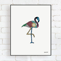 "Daydream Flamingo - 8"" x 10"" Framed Wall Art Decor"
