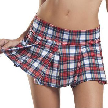 School Girls White Plaid Skirt
