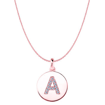"""A"" Diamond Initial 14K Rose Gold Disk Pendant (0.13ct)"