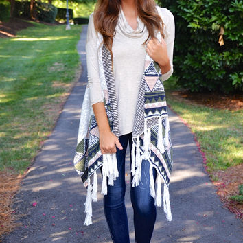 Trial By Fire cardigan, ivory combo