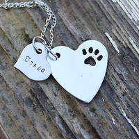 Dog paw heart necklace, pet jewelry, personalized, dog jewelry, I love my dog