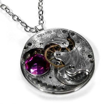 Steampunk Necklace Jewelry by edmdesigns Silver by edmdesigns