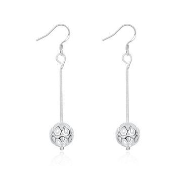 18K White Gold Plated Thin Ball Drop Drop Earring