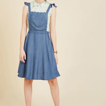 A Nudge of Nostalgia Denim Jumper | Mod Retro Vintage Skirts | ModCloth.com