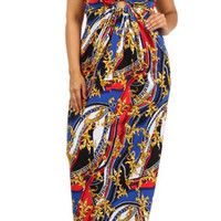 Sexy Diva Plus Size Maxi Dress-Multi Royal Blue