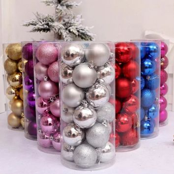 24 Pack: Glitter Decorated Christmas Tree Ornaments