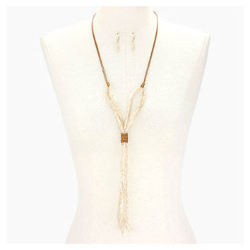 Boho Matte Gold & Ivory Tied Glass Bead Strand Long Tassel Necklace