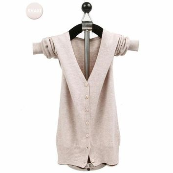 Women Cashmere Knitted Single Breasted V-Neck Cardigan Sweaters