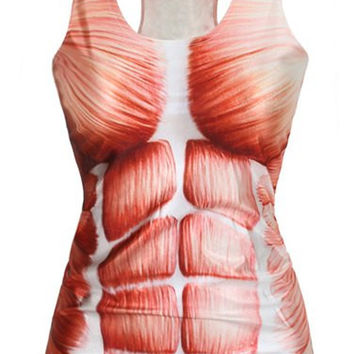 Muscle Printed Racer-back Tank Top