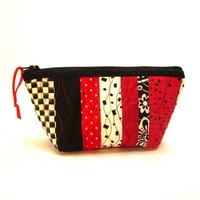 Quilted Zipper Pouch Red Black White Stripe Fabric Small Toiletry Bag