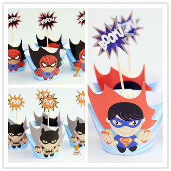 48pcs Anime The Avengers Spider-man Superman Batman cupcake wrappers toppers picks kids baby birthday party supplies