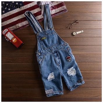 Shorts Denim Bib Overalls Men Summer Style 2016 Male Denim Jumpsuit Ripped Jeans Coverall Blue Pants S-XXL