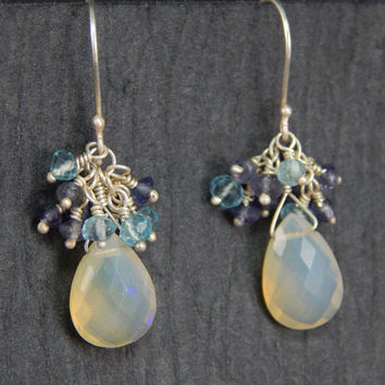 blue Australian opal earrings, iolite earrings, chalcedony earrings, dangle earring, wire wrapped earrings