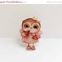 CHRISTMAS SALE Free shipping Owl brooch owl jewelry owl princess , Christmas gift, Animal brooch owl brooch clay owl ,gifts under 25 (0013)