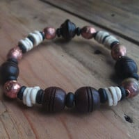 Carved, Exotic Wood, Ostrich Shell, Copper, Prayer Bead, Unisex, Tribal, Stacking Bracelet, For Him