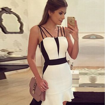 Casual Color Block Fishtail Strappy Mini dress