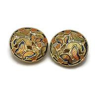 Vintage Round Cloisonne Butterfly Clip on Earrings - Gold Tone Yellow Orange Blue - Monarch Butterflies Flowers - Openwork Enamel Floral