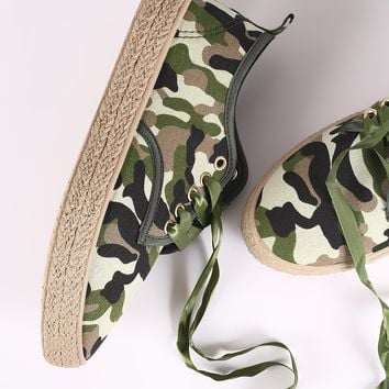 Camouflage Ribbon Lace Up Espadrille Trim Sneakers