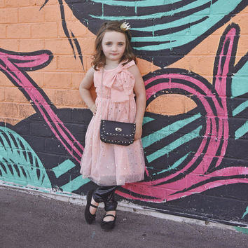 """City Glam """"Lindsay"""" Pink Stars and Bow Dress"""