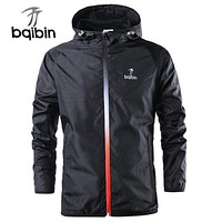 Spring Summer Mens Fashion Outerwear Windbreaker Men' S Thin Jackets Hooded Casual Sporting Coat Big Size