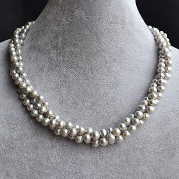Gray Pearl Necklace, 3 Strands 5-6mm Gray Freshwater Pearl Necklace,18 Inches Maid Of Honor Jewelry,Bridesmaid Jewelry.New Free Shipping.
