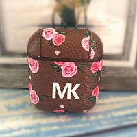 MK Michael Kors Hot Sale Women Print iPhone Airpods Headphone Case Wireless Bluetooth Headphone Protector Case(No Headphones) Coffee