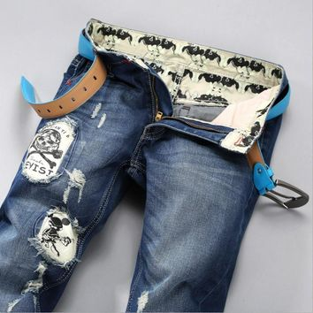 Men Ripped Holes Slim Pants Strong Character Hip-hop Jeans [6528575107]