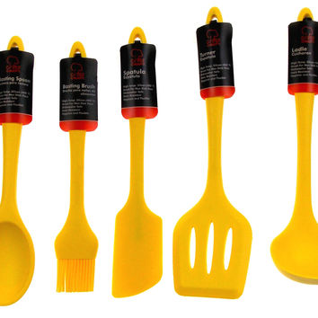 Set of 7 Yellow Kitchen Utensil Silicone Chef Craft Spoon Spatula Basting Brush