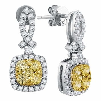 14kt White Gold Women's Round Yellow Diamond Square Frame Cluster Dangle Earrings 1-1-3 Cttw - FREE Shipping (USA/CAN)
