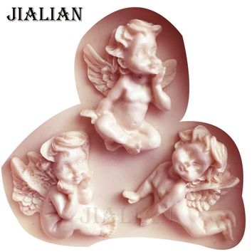 3 Hole Baby angel Shaped Silicone Mold Cake Decoration boy Fondant cookies tools 3D Silicone Mould Gumpaste Candy T0971