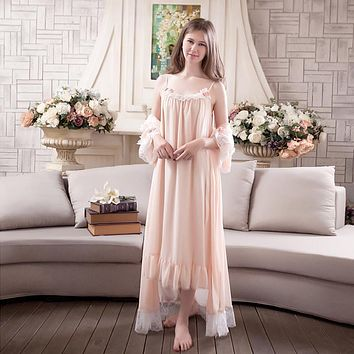 Womens 2 Pieces Sweet Princess Home Sleeping Dress Womens Long Sleeve Vintage Elegant Lace Nightgowns Chiffon Chemise Nightdress