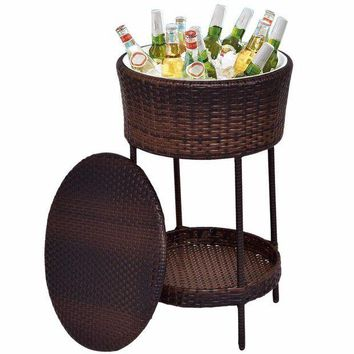 MDIGMS9 Outdoor Brown Wicker Patio Bar Cooler with Ice Bucket