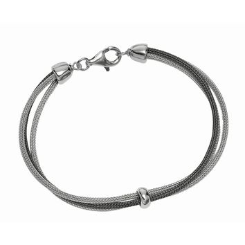 Silver with Rhodium+Ruthenium Finish Double Strand 2-Tone Wheat Bracelet+1 Station Ring with Pear Shape Clasp