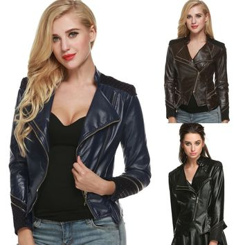 Women Girls Faux Leather PU Coat Slim Fitted Zip up Lapel Collar Punk Biker Motorcycle Jacket