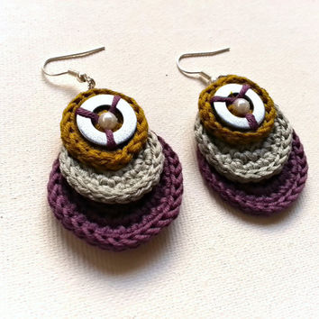Crochet earrings, circular earrings, dangle earrings, cotton earrings, mustard yellow, purple, light-grey, for her