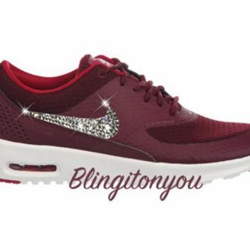Women's Swarovski Nike Air Max Thea Running Shoes Maroon Blinged Out With Swarovski Cr