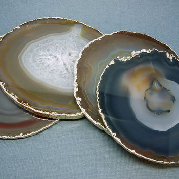 Beautiful Dark Brown Coasters - Dark Purple Extra Large Agate Coasters with  Electroplated 24k Gold Edges