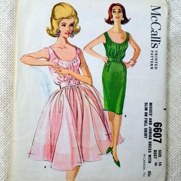 Vintage Pattern McCall's 3652 1960s Rockabilly prom dress new look full skirt Bust 36 Formal Bateau Wiggle Uncut sheer