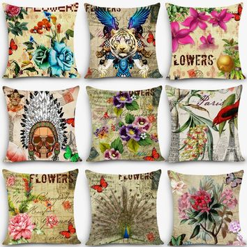 "New Arrival flower pillows floral butterfly Home Decorative Cushion Throw Pillow 18"" Vintage Cotton Linen Square MYJ-B6"