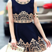 Navy Sleeveless Embroidered High Waist A-Line Mini Dress