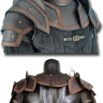 Leather Shoulder Armour & Neck Guard, Black-Brown - Shoulder & Neck - Leather Armour - Armour