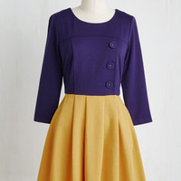 Scholastic Short Length 3 A-line Either Or Dress in Navy and Goldenrod