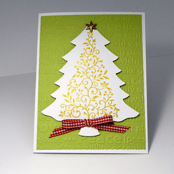 Gold Christmas Tree Card, Merry Christmas, greeting card, red and green, metallic, handmade, hand stamped, elegant