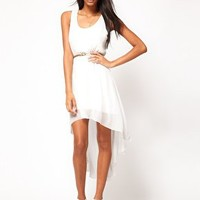 ASOS High Low Hem Dress with Belt at asos.com