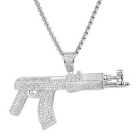 Men's AK-47 Iced Out Gun Designer Pendant Necklace