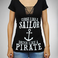 """Curse Like a Sailor Drink Like a Pirate"" Braided V-neck Junior Fitted Teem"