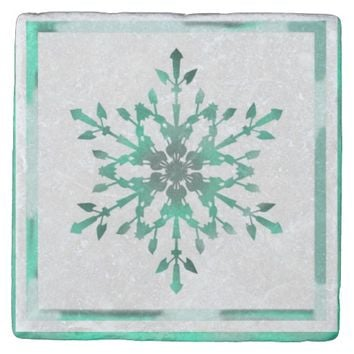 Unique Green Snowflake Stone Coaster