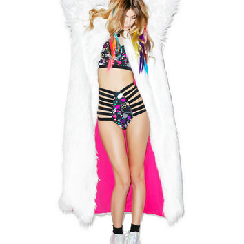 J Valentine Flashing Lights Long Fur Jacket White One
